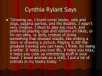 cynthia rylant says