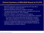 clinical summary of brilique based on plato