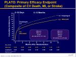plato primary efficacy endpoint composite of cv death mi or stroke