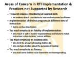 areas of concern in rti implementation practices not supported by research