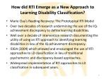 how did rti emerge as a new approach to learning disability classification