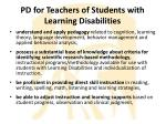 pd for teachers of students with learning disabilities