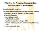 priorities for planning implementing instruction in an rti context