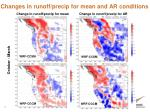 changes in runoff precip for mean and ar conditions