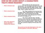 how do we learn about a character s traits when reading