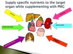 supply specific nutrients to the target organ while supplementing with pmg