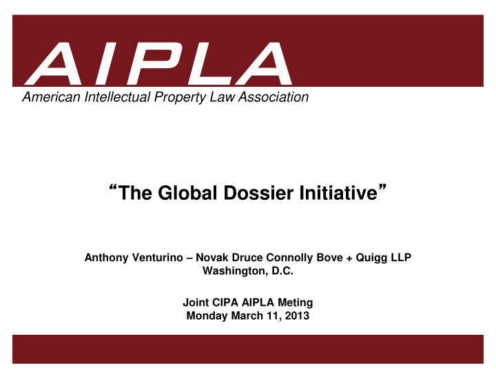 the global dossier initiative n.