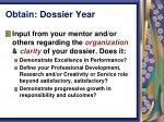 obtain dossier year