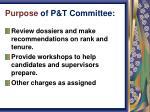purpose of p t committee