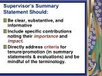 supervisor s summary statement should