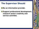 the supervisor should