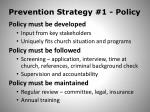 prevention strategy 1 policy