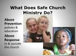 what does safe church ministry do
