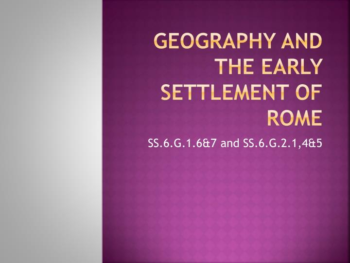 geography and the early settlement of rome n.