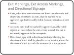 exit markings exit access markings and directional signage