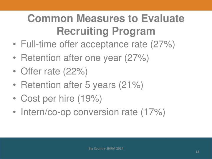 Common Measures to Evaluate Recruiting Program
