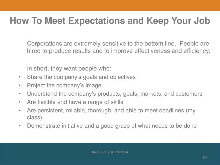 How To Meet Expectations and Keep Your Job