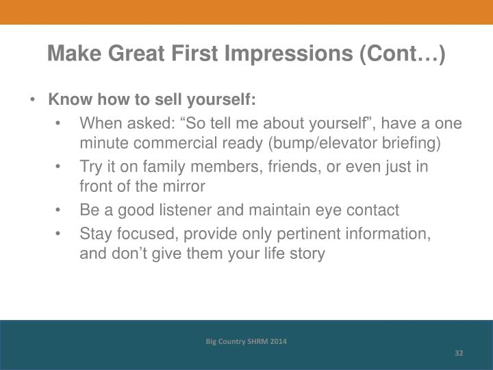 Make Great First Impressions (