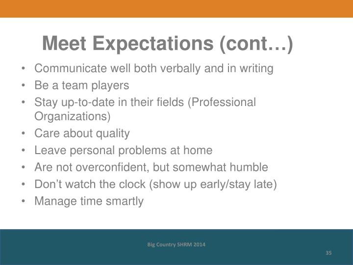 Meet Expectations (