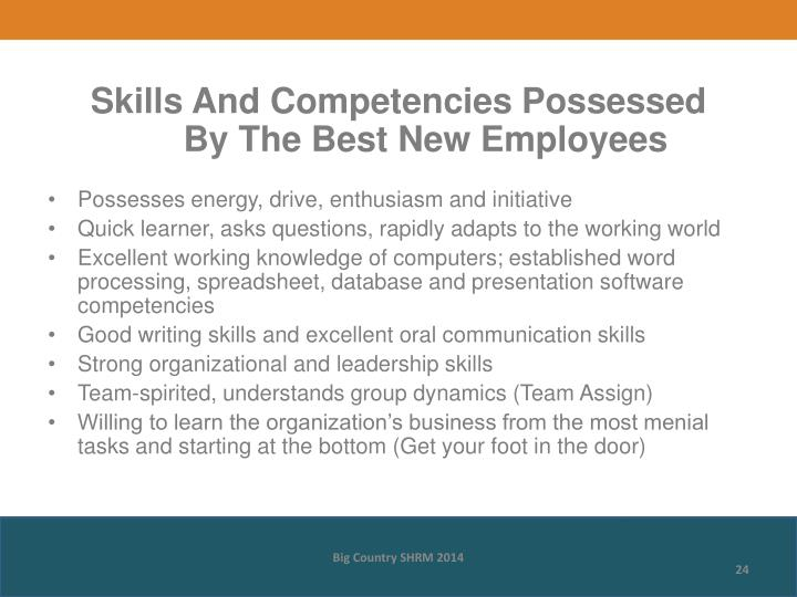 Skills And Competencies Possessed