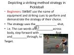 depicting a striking method strategy in pickleball