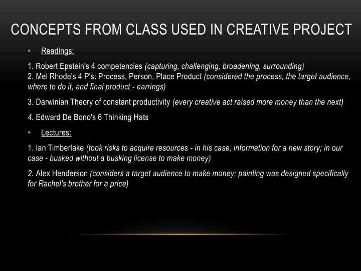 Concepts from class used in creative project
