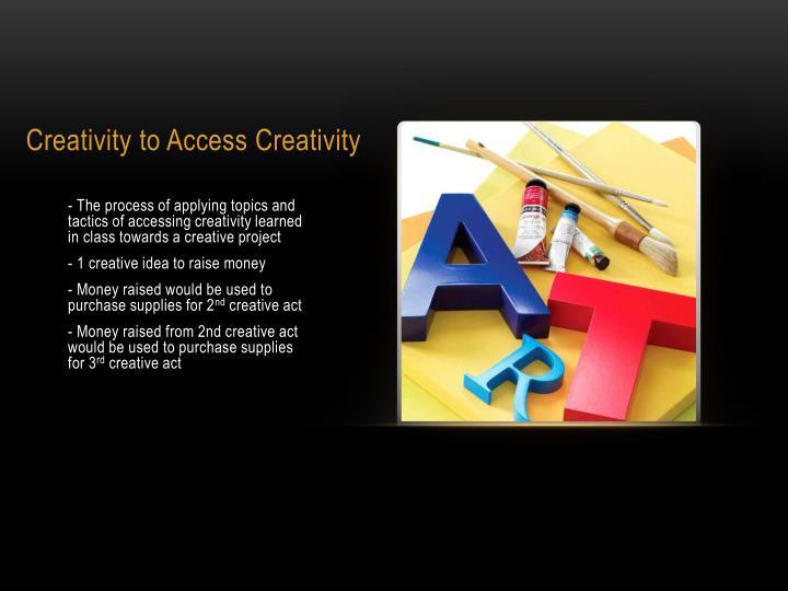 Creativity to access creativity