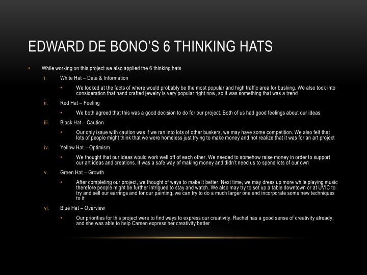 Edward de bono's 6 thinking hats
