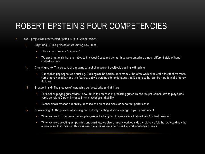 Robert Epstein's four competencies