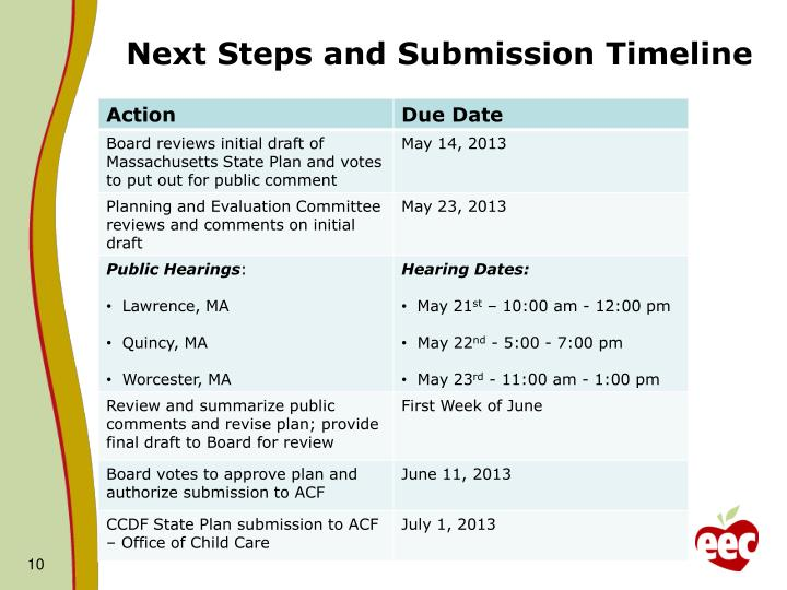 Next Steps and Submission Timeline