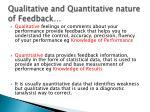 qualitative and quantitative nature of feedback