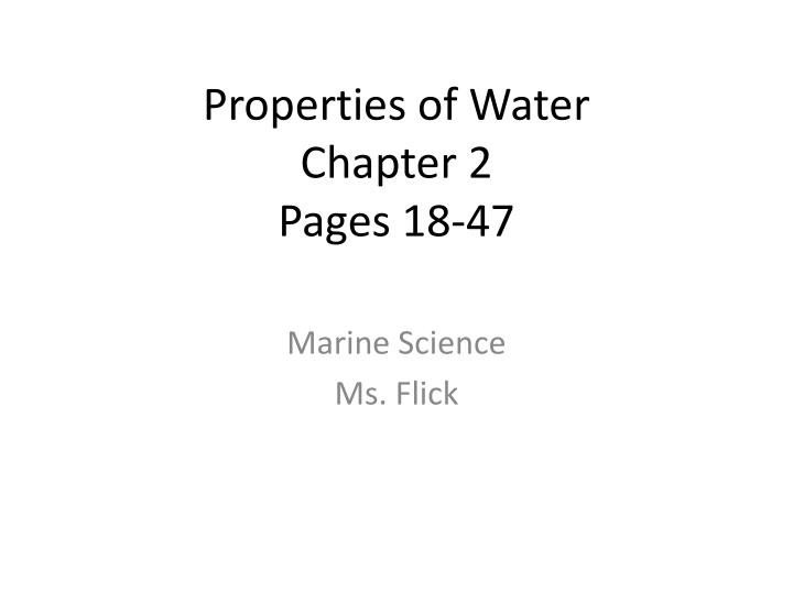 properties of water chapter 2 pages 18 47 n.