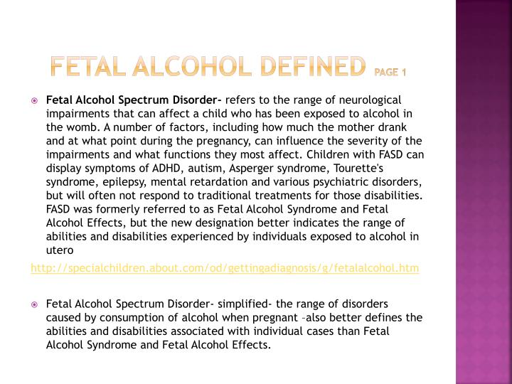 Fetal alcohol defined page 1