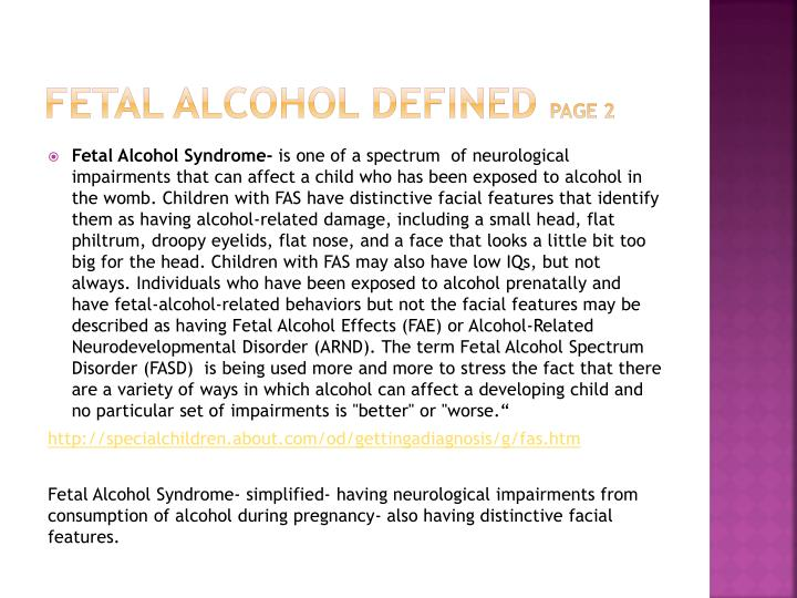 Fetal alcohol defined page 2