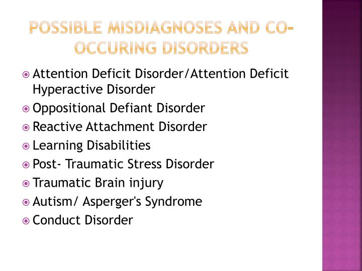 Possible misdiagnoses and co-