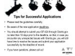 tips for successful applications