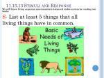 11 15 13 stimuli and response