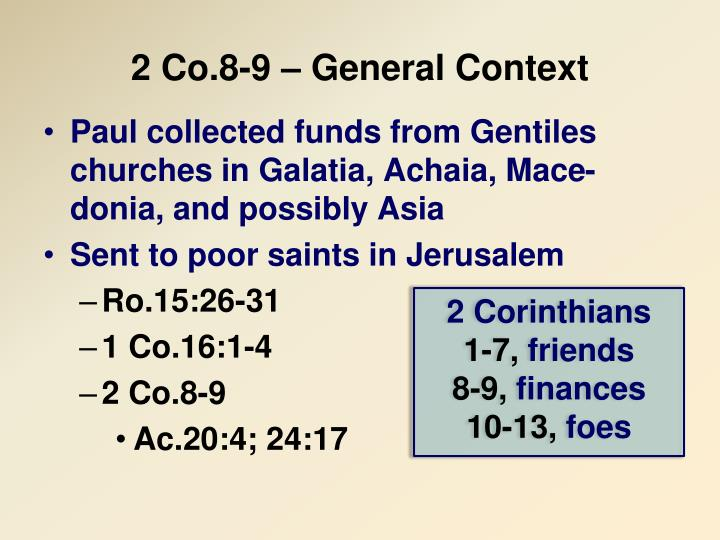 2 co 8 9 general context n.