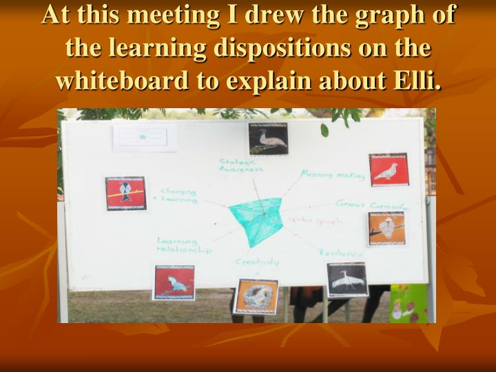 At this meeting I drew the graph of the learning dispositions on the whiteboard to explain about Elli.