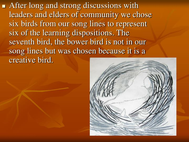 After long and strong discussions with leaders and elders of community we chose six birds from our s...