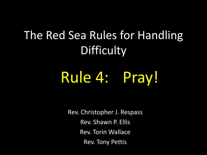 the red sea rules for handling difficulty n.