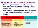 nonspecific vs specific defenses