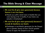 the bible strong clear message
