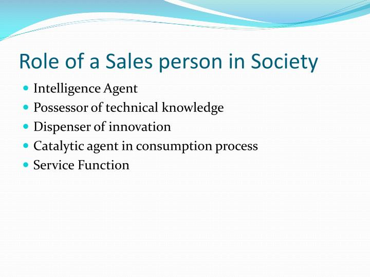 Role of a Sales person in Society
