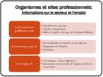 organismes et sites professionnels informations sur le secteur et l emploi