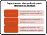 organismes et sites professionnels informations sur les m tiers