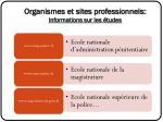 organismes et sites professionnels informations sur les tudes
