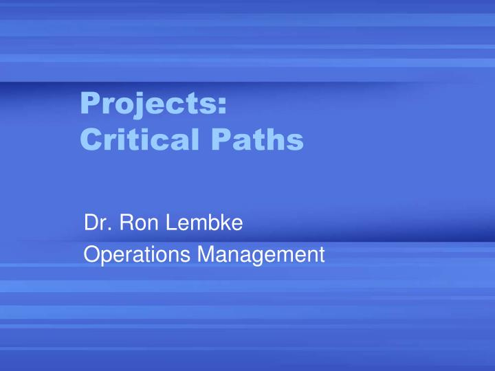 projects critical paths n.