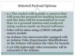 selected payload options