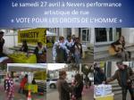 le samedi 27 avril nevers performance artistique de rue vote pour les droits de l homme